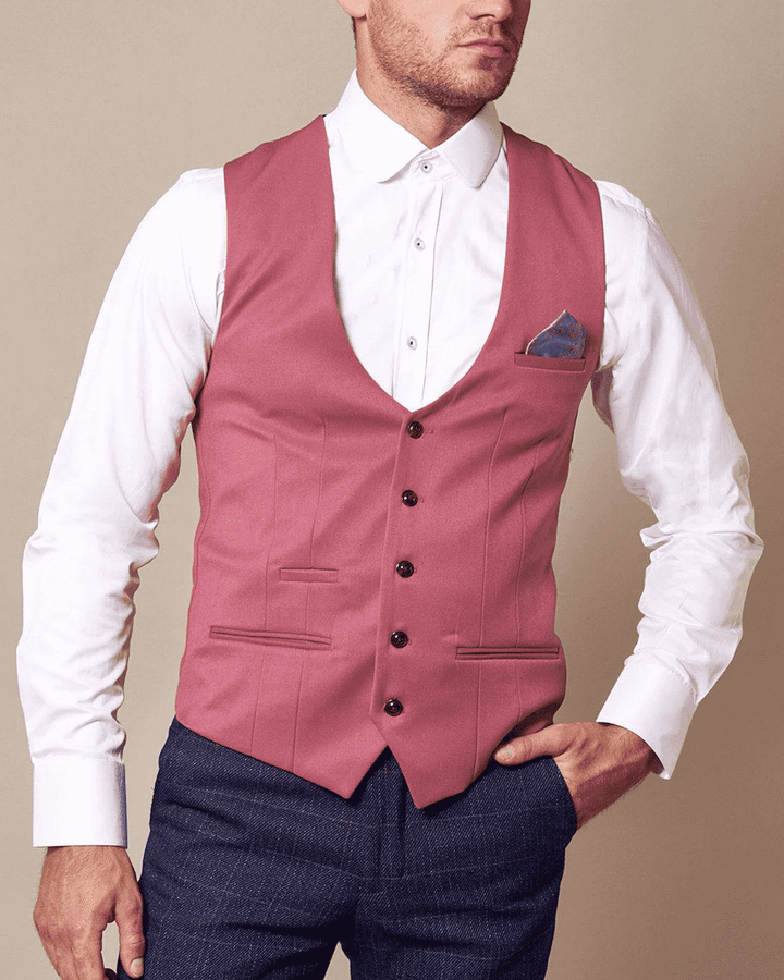 Marc Darcy Kelly Pink Single-Breasted/Double Breasted Waistcoat