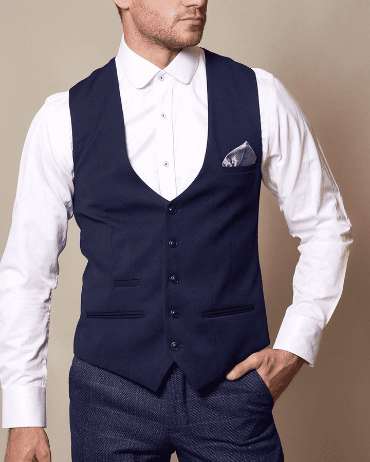 Marc Darcy Kelly Royal Blue Single-Breasted/Double Breasted Waistcoat