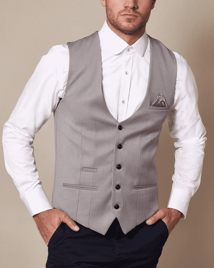 Marc Darcy Kelly Silver Single-Breasted/Double Breasted Waistcoat