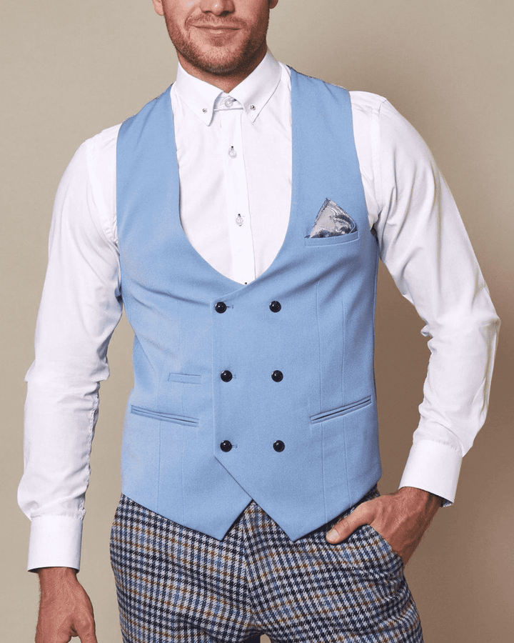 Marc Darcy Kelly Sky Blue Single-Breasted/Double Breasted Waistcoat