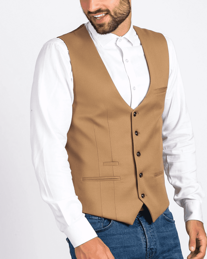 Marc Darcy Kelly Tan Single-Breasted/Double Breasted Waistcoat
