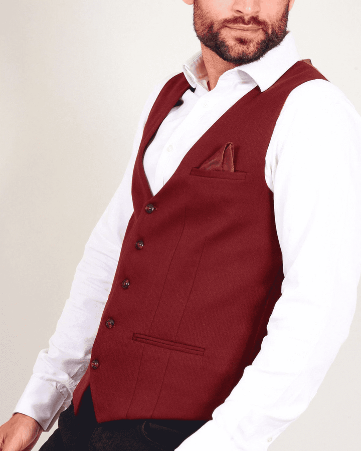 Marc Darcy Kelly Wine Single-Breasted/Double Breasted Waistcoat