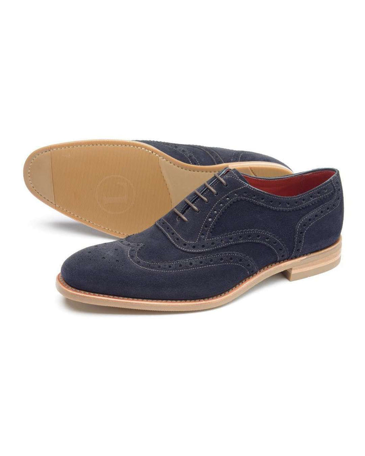 Loake Kerridge Navy Suede Oxford Wing Tip Brogue