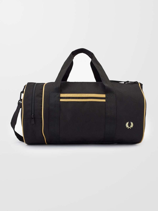 FRED PERRY Black Twin Tipped Barrel Bag