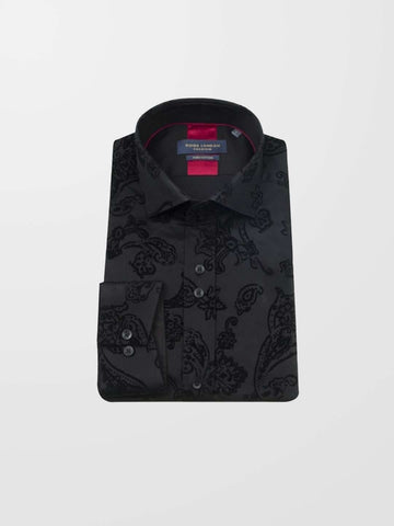 GUIDE LONDON Black Flocked Print LS Shirt
