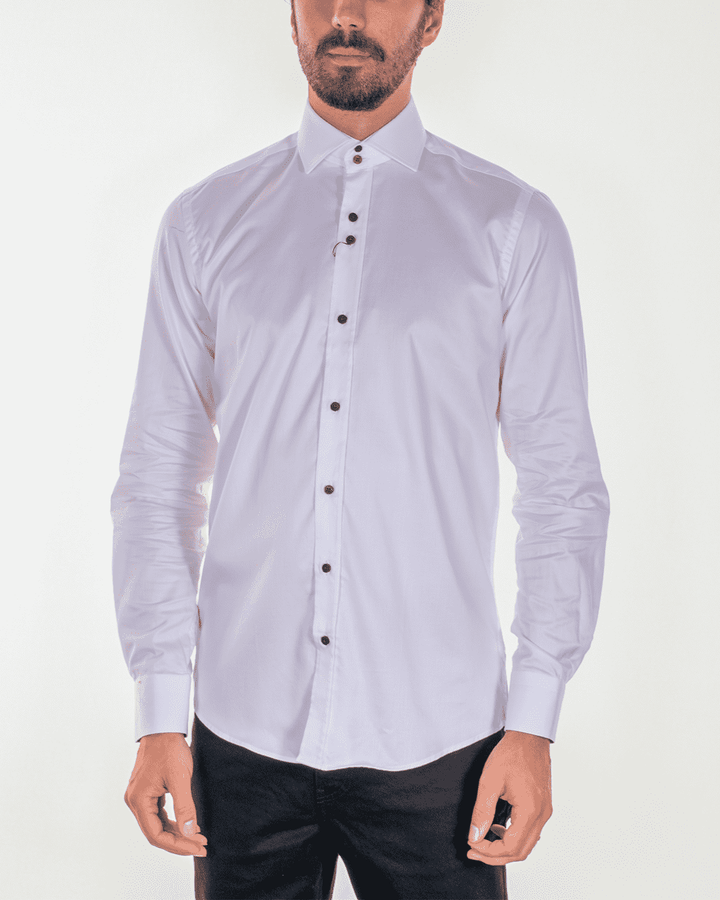 Guide London White Pure Cotton Floral Detail Shirt