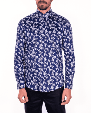 Guide London Navy Pure Cotton B&W Floral Print Shirt