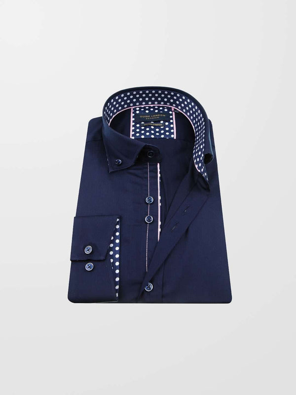 GUIDE LONDON Polka Dot Trim LS Shirt