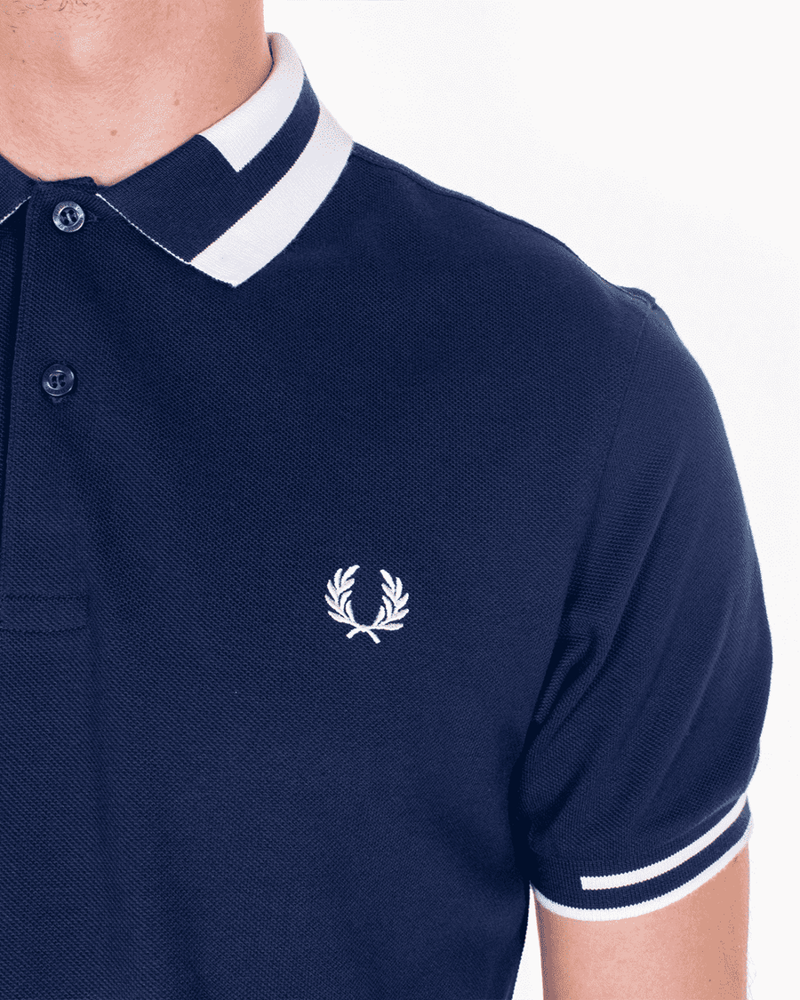Fred Perry Block Tipped Polo Carbon Blue