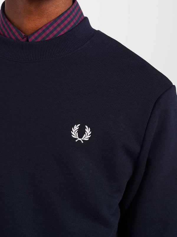 FRED PERRY Navy Crew Neck Sweatshirt