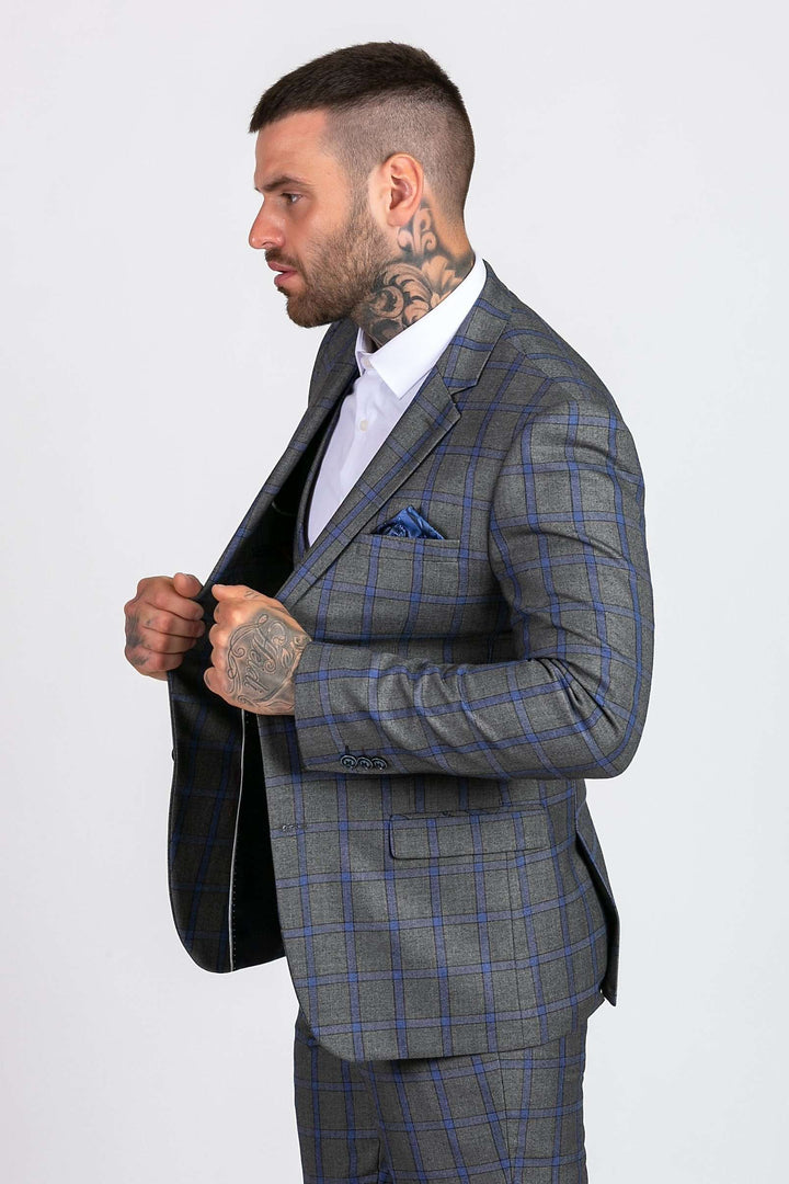 Marc Darcy Roman Grey Windowpane Check Blazer