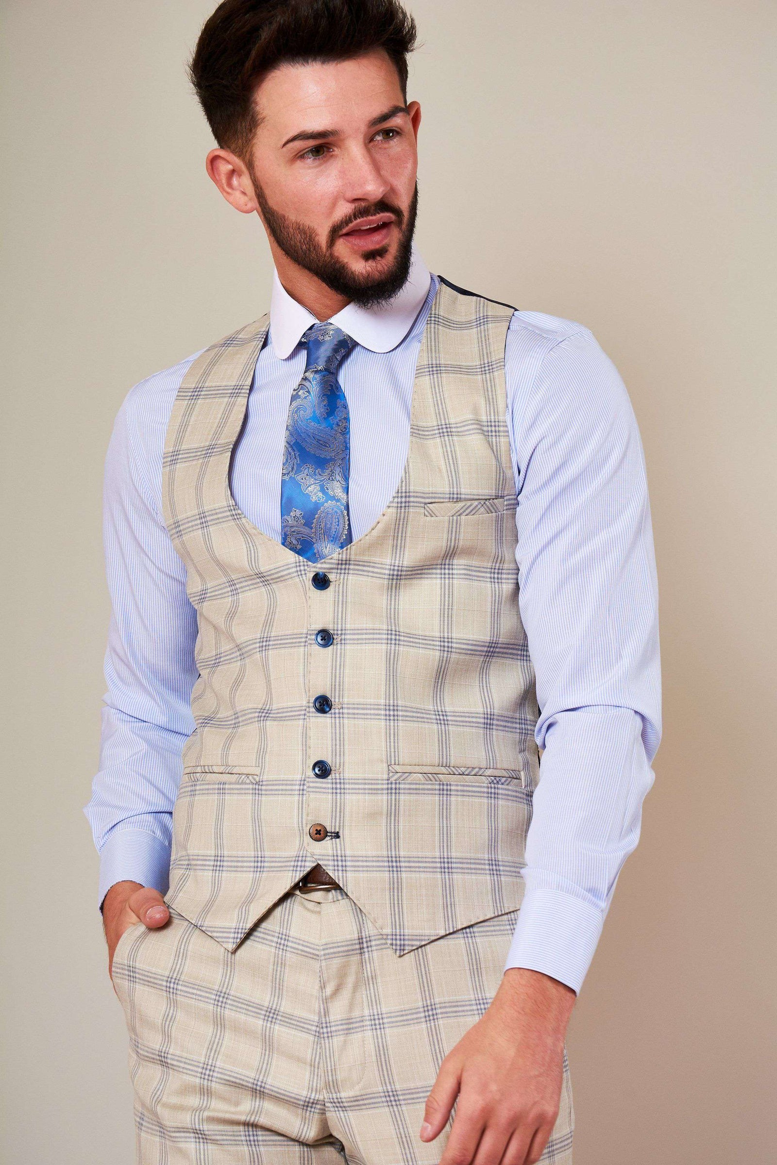 MARC DARCY Buxton Check Single Breasted Waistcoat - Revolver Menswear Bawtry