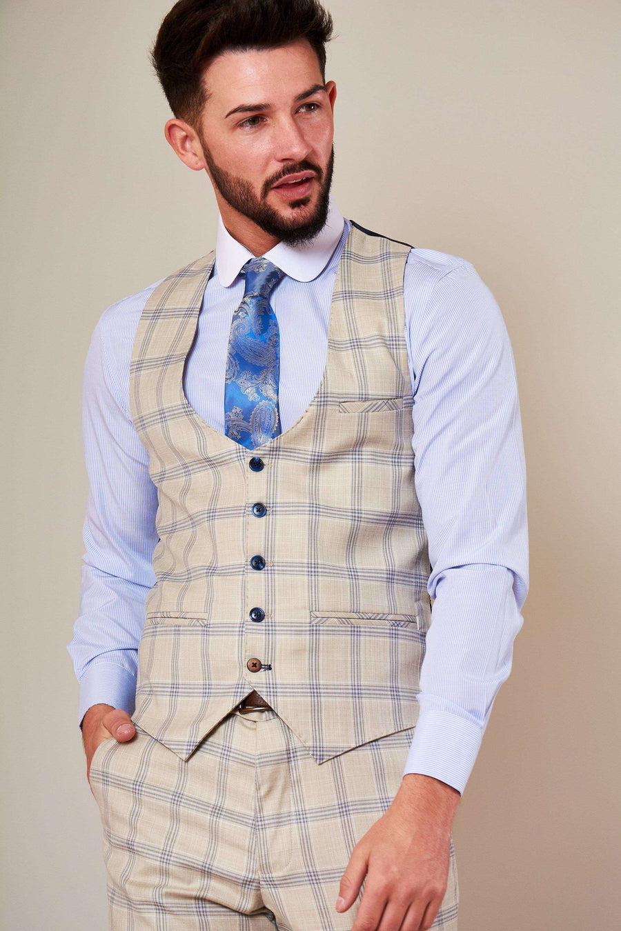 Marc Darcy Buxton Stone Check Single Breasted Waistcoat
