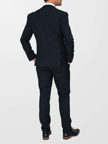 CAVANI Black Marco 3 Piece Plain Suit