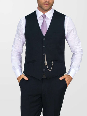 CAVANI Marco 3 Piece Plain Black Suit