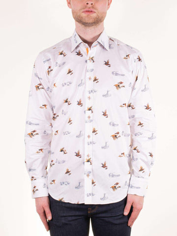 CLAUDIO LUGLI White Red Grouse LS Shirt