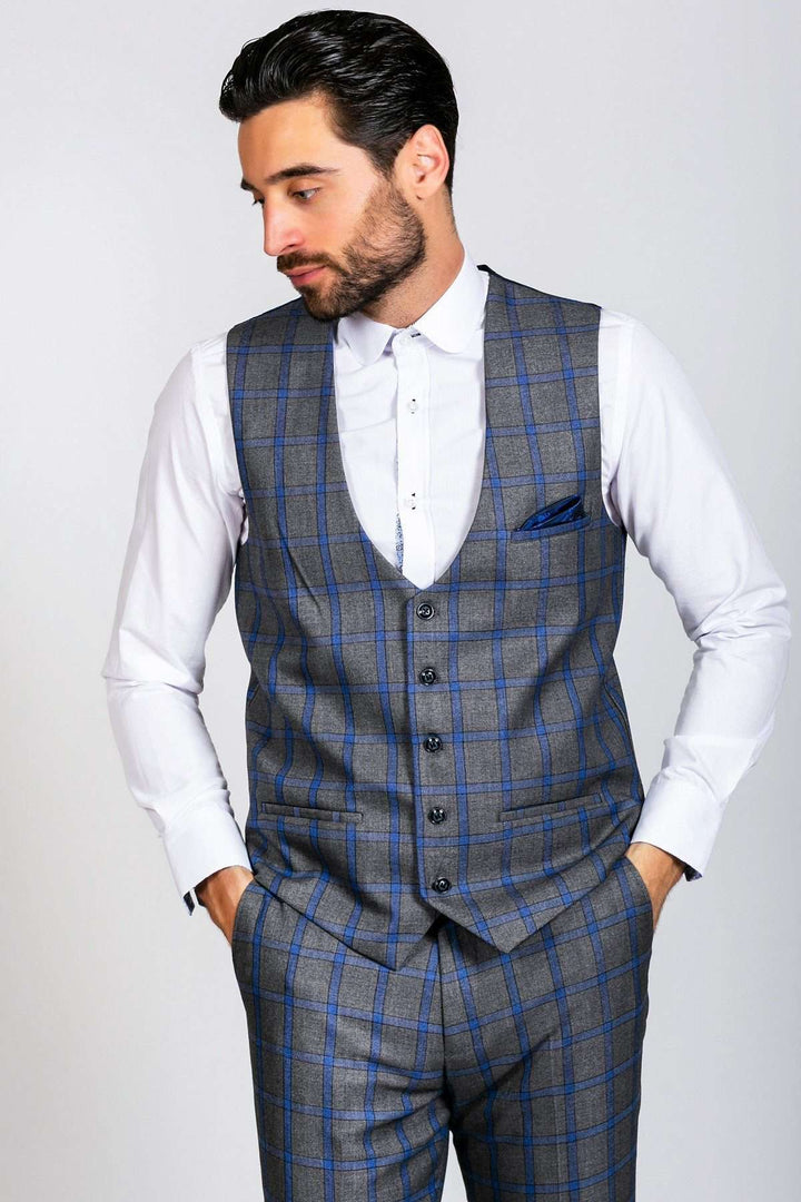 Marc Darcy Roman Grey Windowpane Check Single Breasted Waistcoat