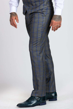 Marc Darcy Roman Grey Windowpane Check Trousers