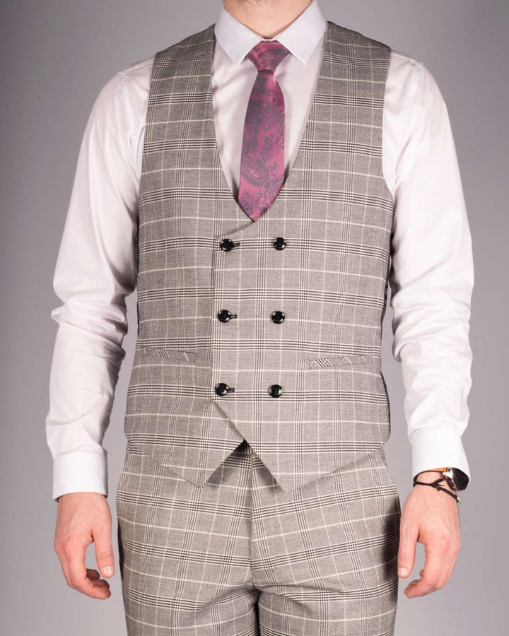 Marc Darcy Ross Grey Check Double Breasted Waistcoat