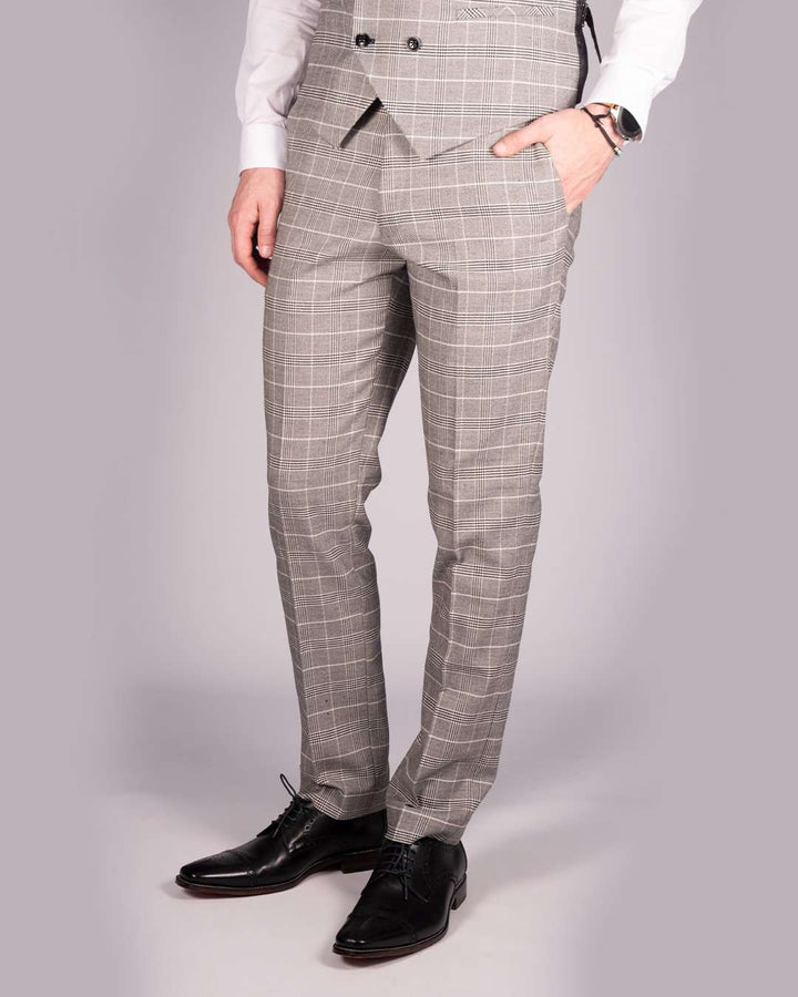 Marc Darcy Ross Grey Check Trousers