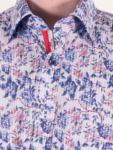 CLAUDIO LUGLI Floral Print L/S Striped Shirt