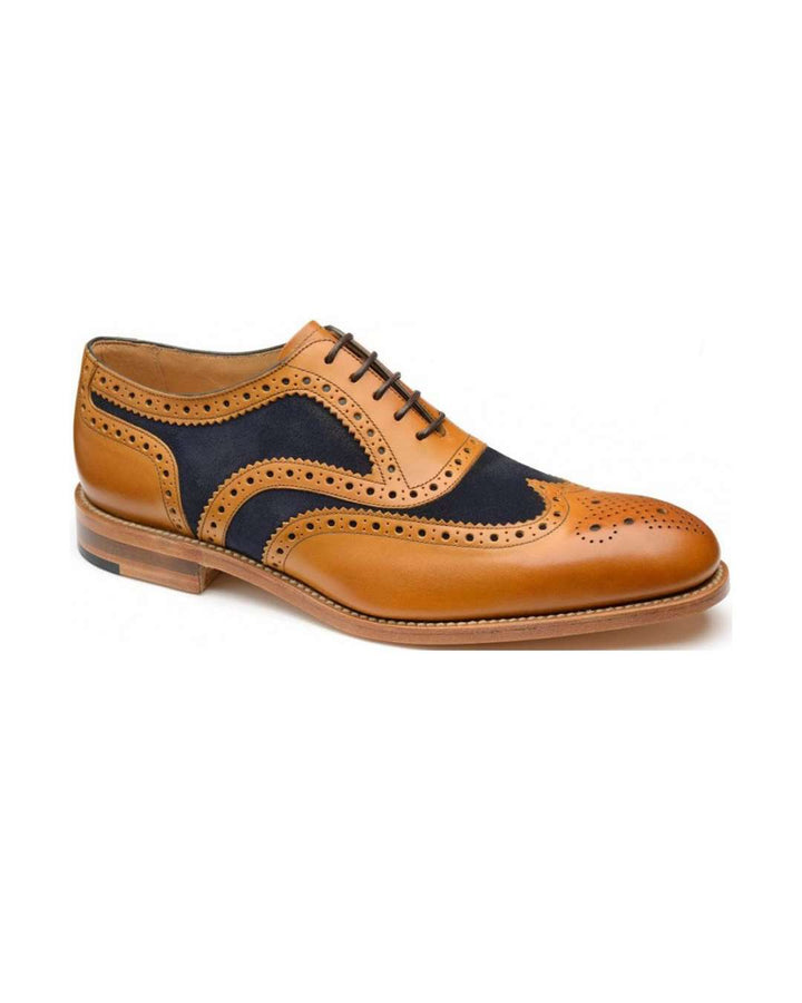 Loake Tan Calf/Navy Suede Tarantula Oxford Brogue