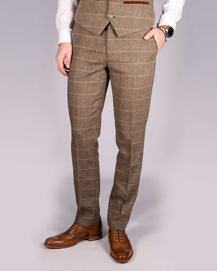 Marc Darcy Ted Tan Tweed Herringbone Check Trousers