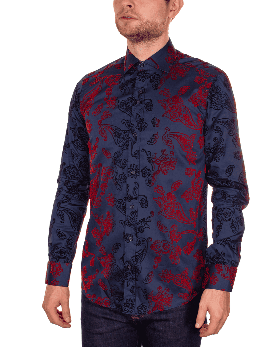 Guide London Navy/Red Flock Shirt