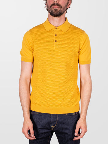 GUIDE LONDON Mustard Textured SS Polo