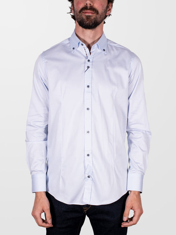 GUIDE LONDON Sky Button Down Plain LS Shirt