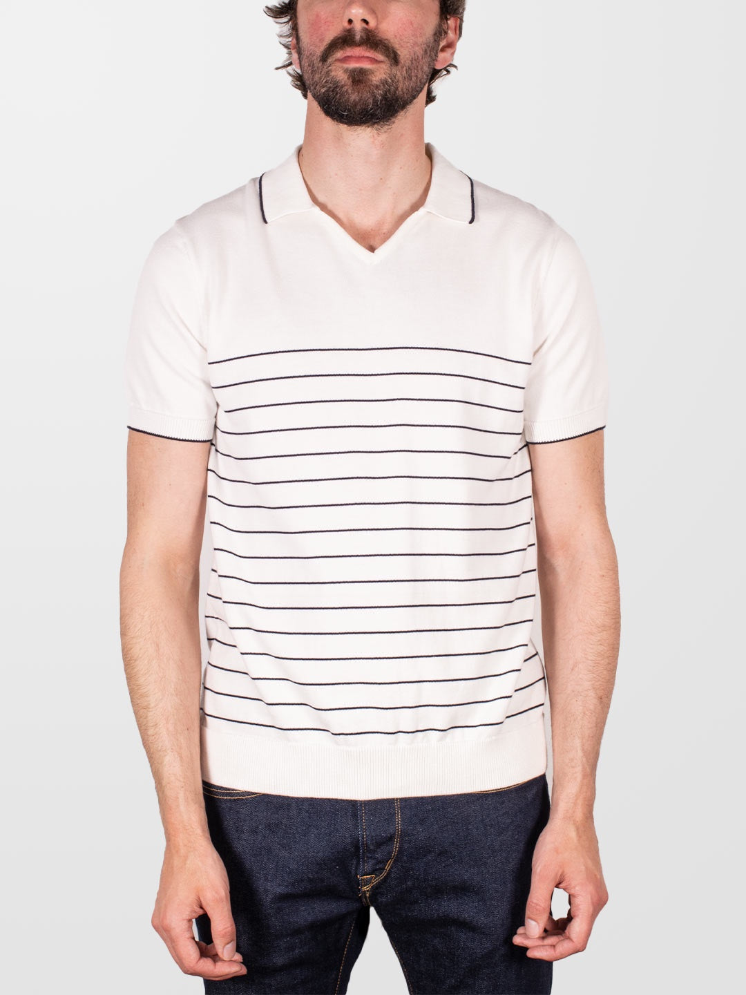 GUIDE LONDON Stripe Knitted V-Neck SS Polo