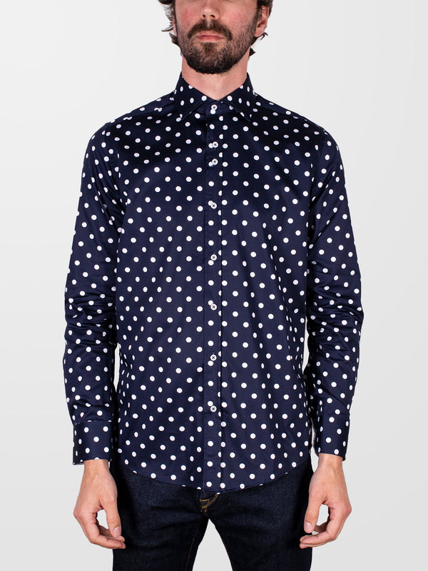 GUIDE LONDON Navy Polka Dot LS Shirt