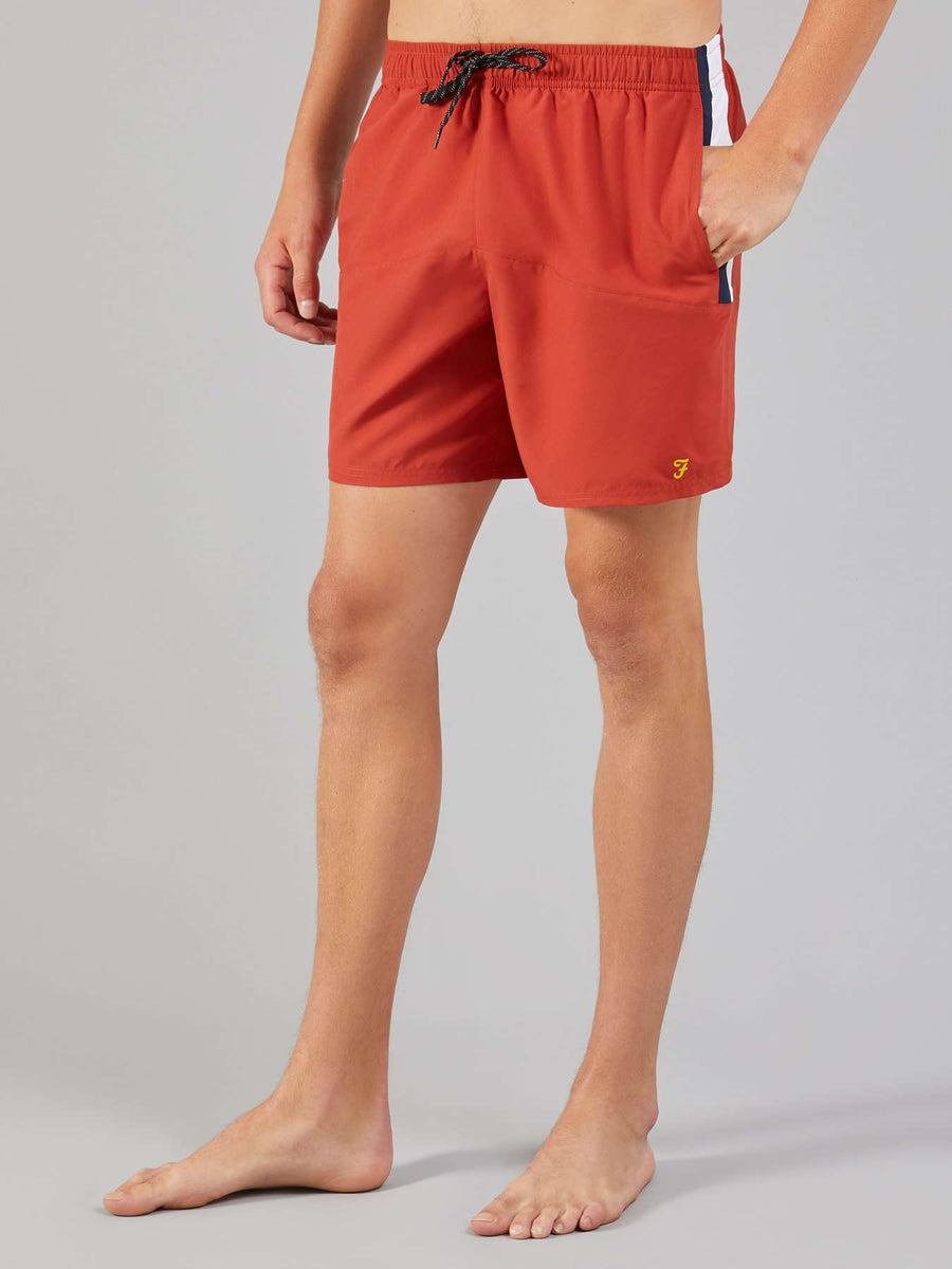Farah Red Ochre Docherty Swim Shorts