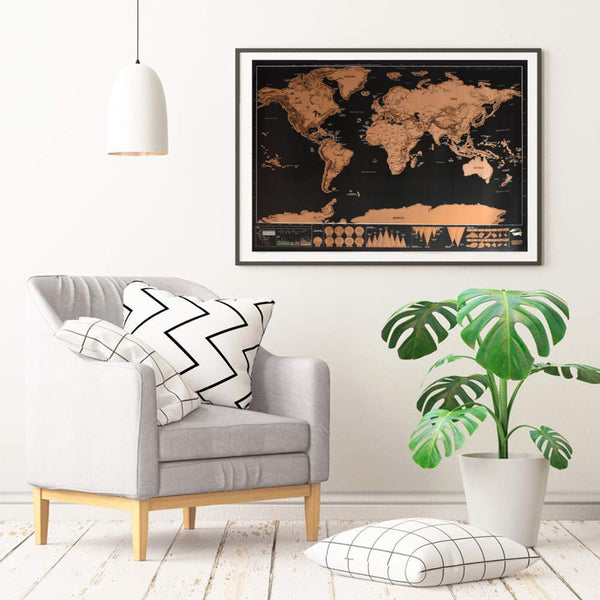 Black World Map Scratch off (82x59)