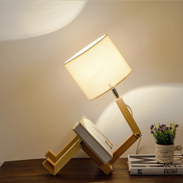 Wooden Robot Table Lamp
