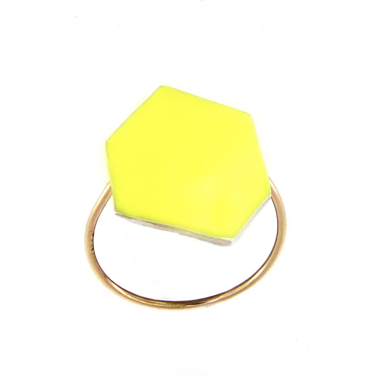 Polygon Ring Bright Yellow