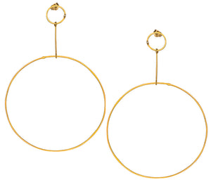 Golden Hoops with Diamond