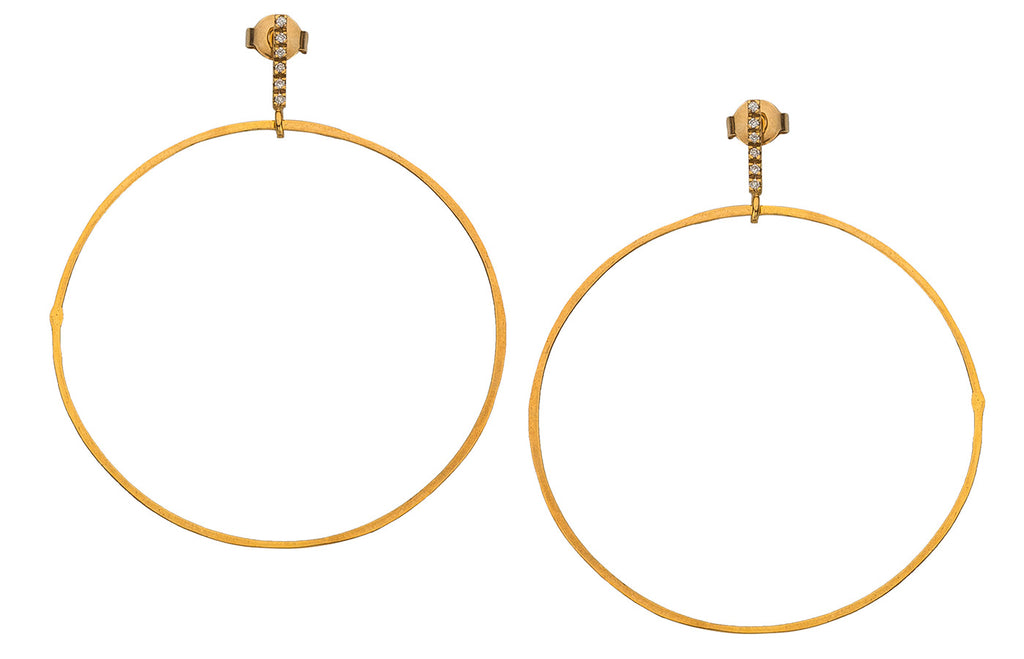 Diamond Line Golden Hoops