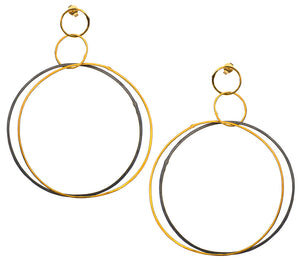 Golden Double Hoops Oxidized