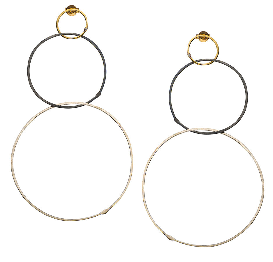 Golden Diamond Silver Hoops