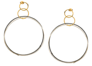 Golden Double Silver Hoops Oxidized
