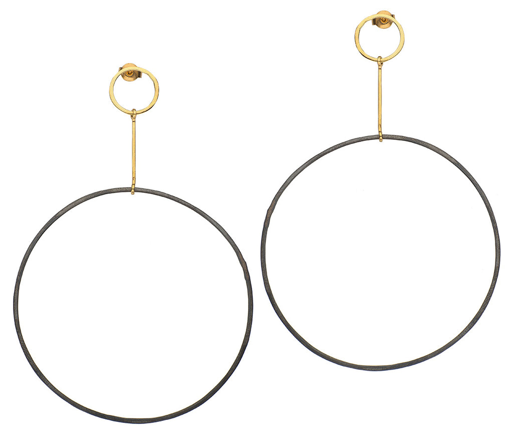 Oxidized Silver Hoops on Gold