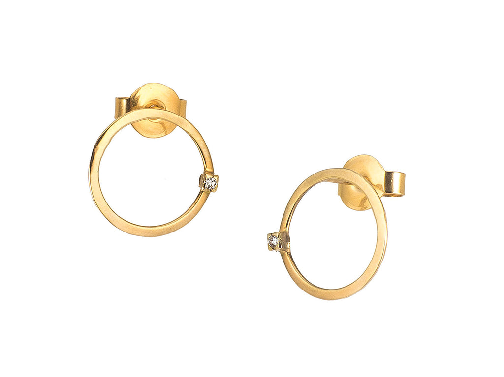 Golden Circle Diamond Earrings