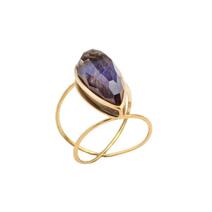 Golden Spetrolite Teardrop Infinity Ring