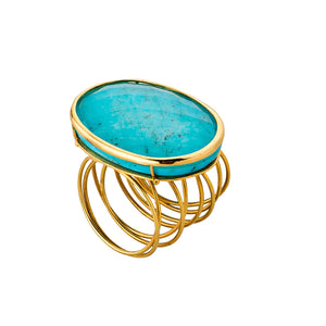 Golden Turquoise Wire Ring