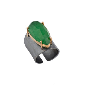 Jade Teardrop Oxidized Ring