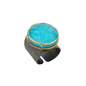 Oxidized Turquoise Gold Ring