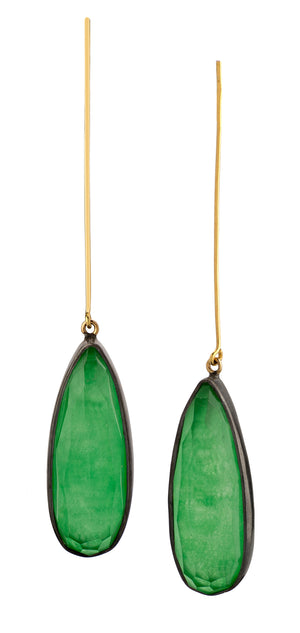 Golden Jade Drop Earrings