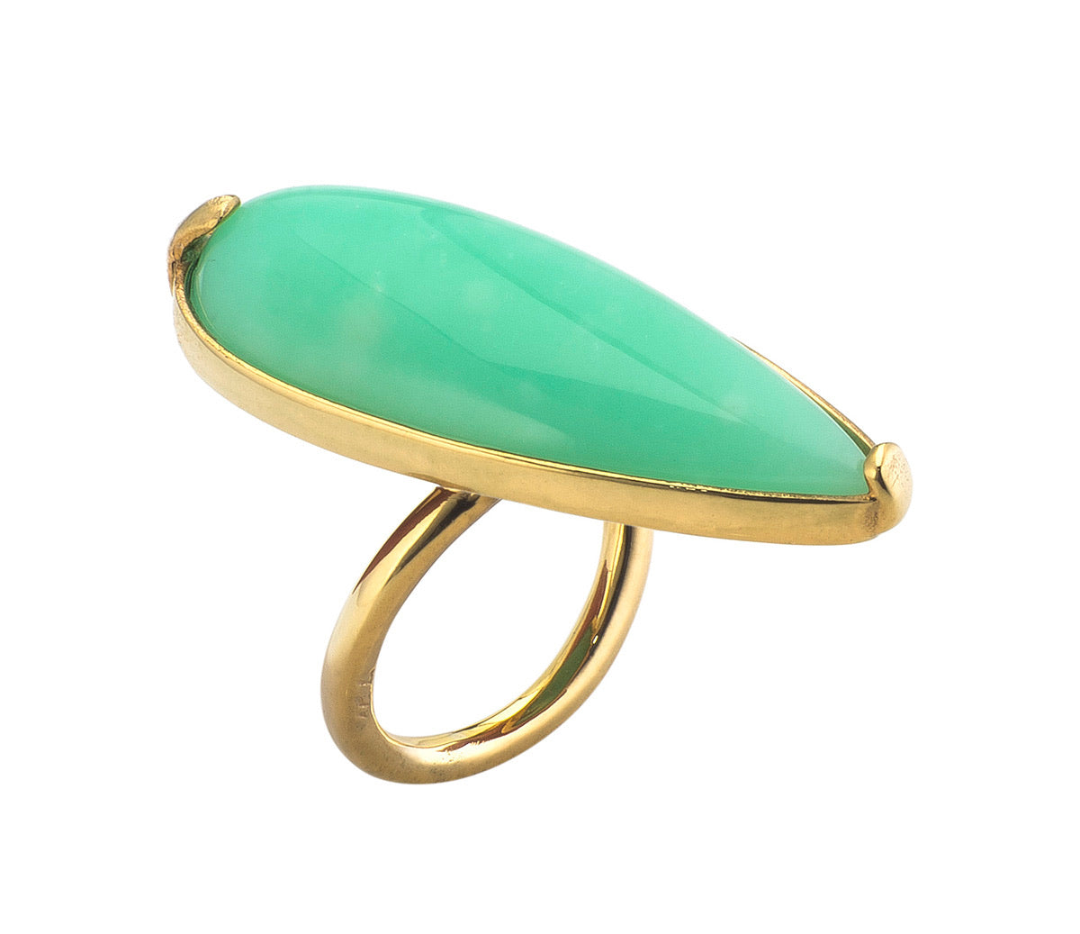 Golden Chrysoprase Tear Ring