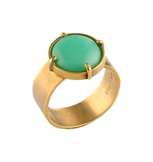 Golden Chrysoprase Ring